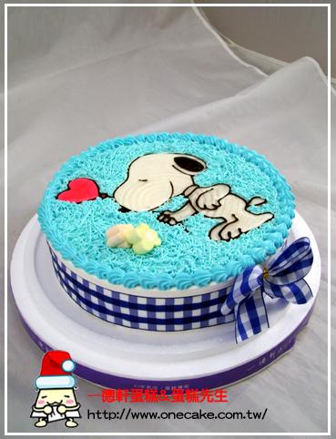 可爱动物 图案:史努比1号 编号24号卡通平面蛋糕(更改外型及写字费用