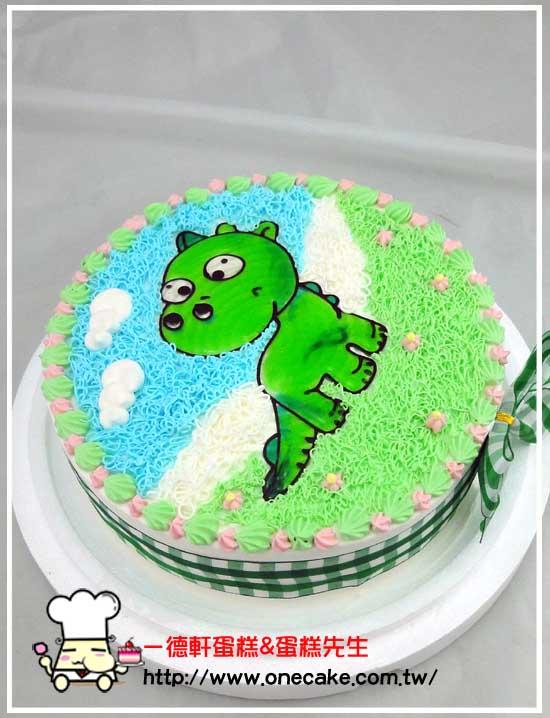 手绘卡通恐龙蛋糕